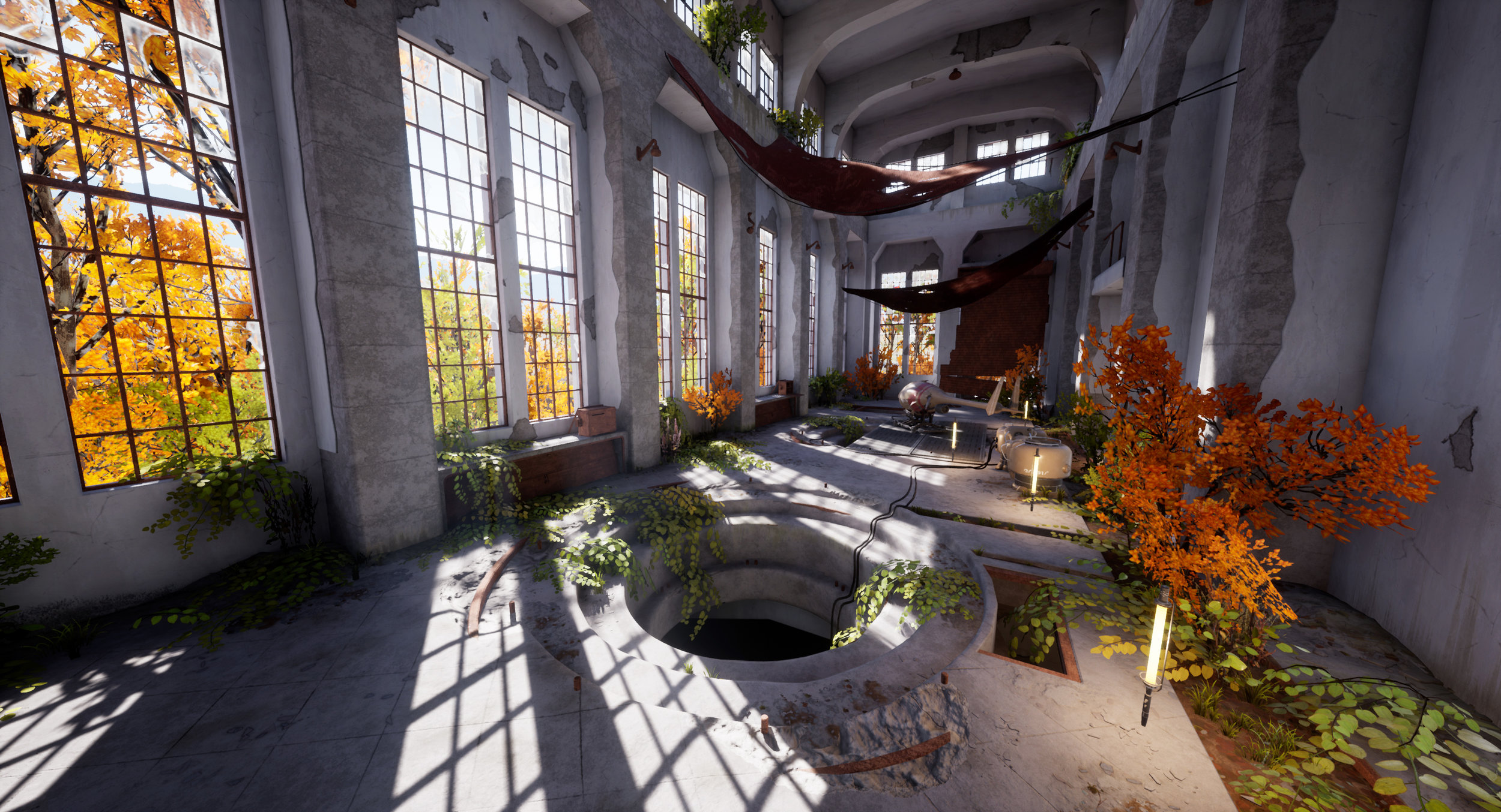 Game-ready environment I made in Unreal 4. The building is based off of photos of an abandoned hydroelectric plant taken by Jordy Meow. I did the original vehicle and prop design. Most textures created in Substance Designer or baked from geometry. Scene is still a WIP.