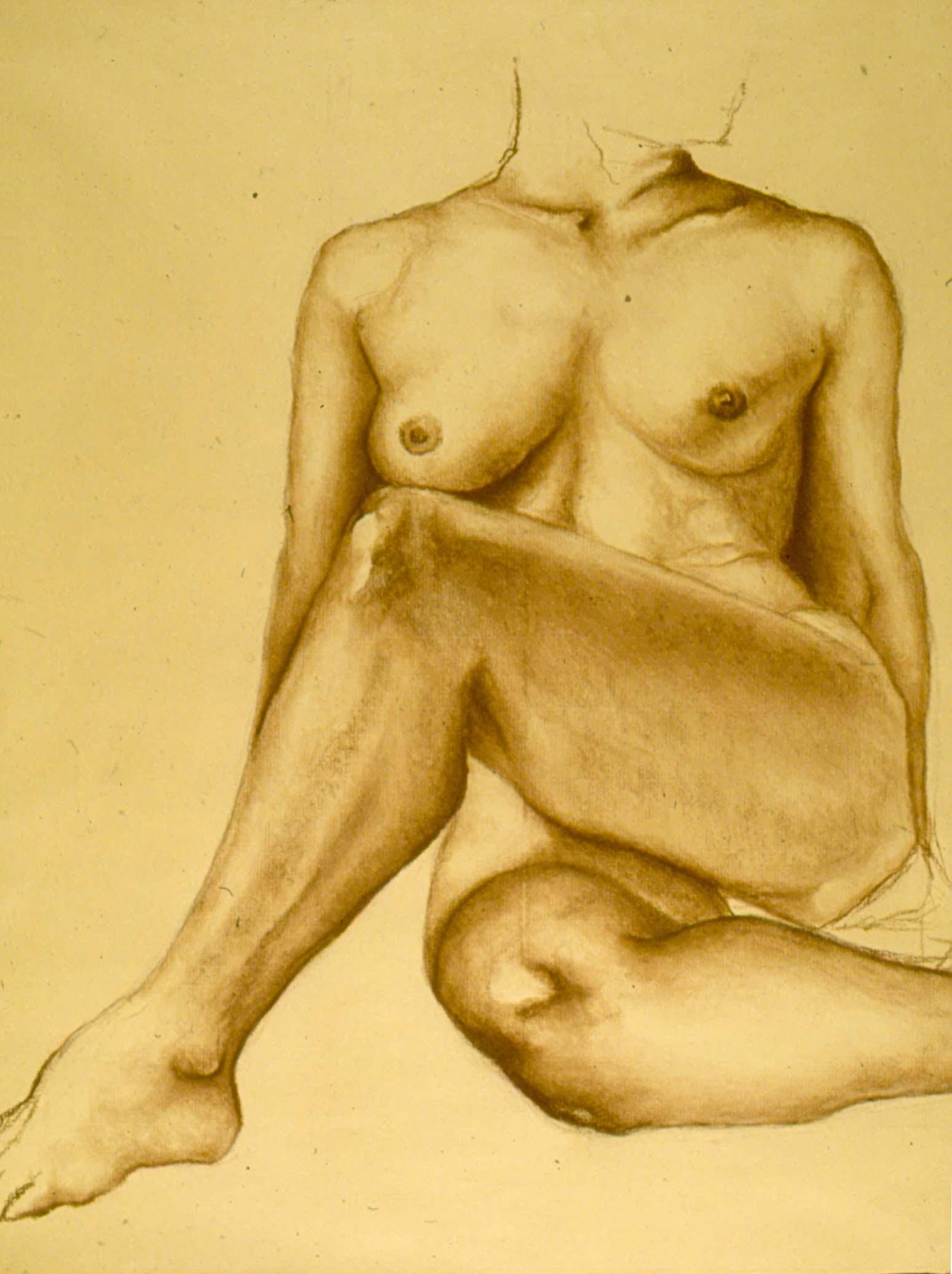 female form lifedrawing - conte crayon