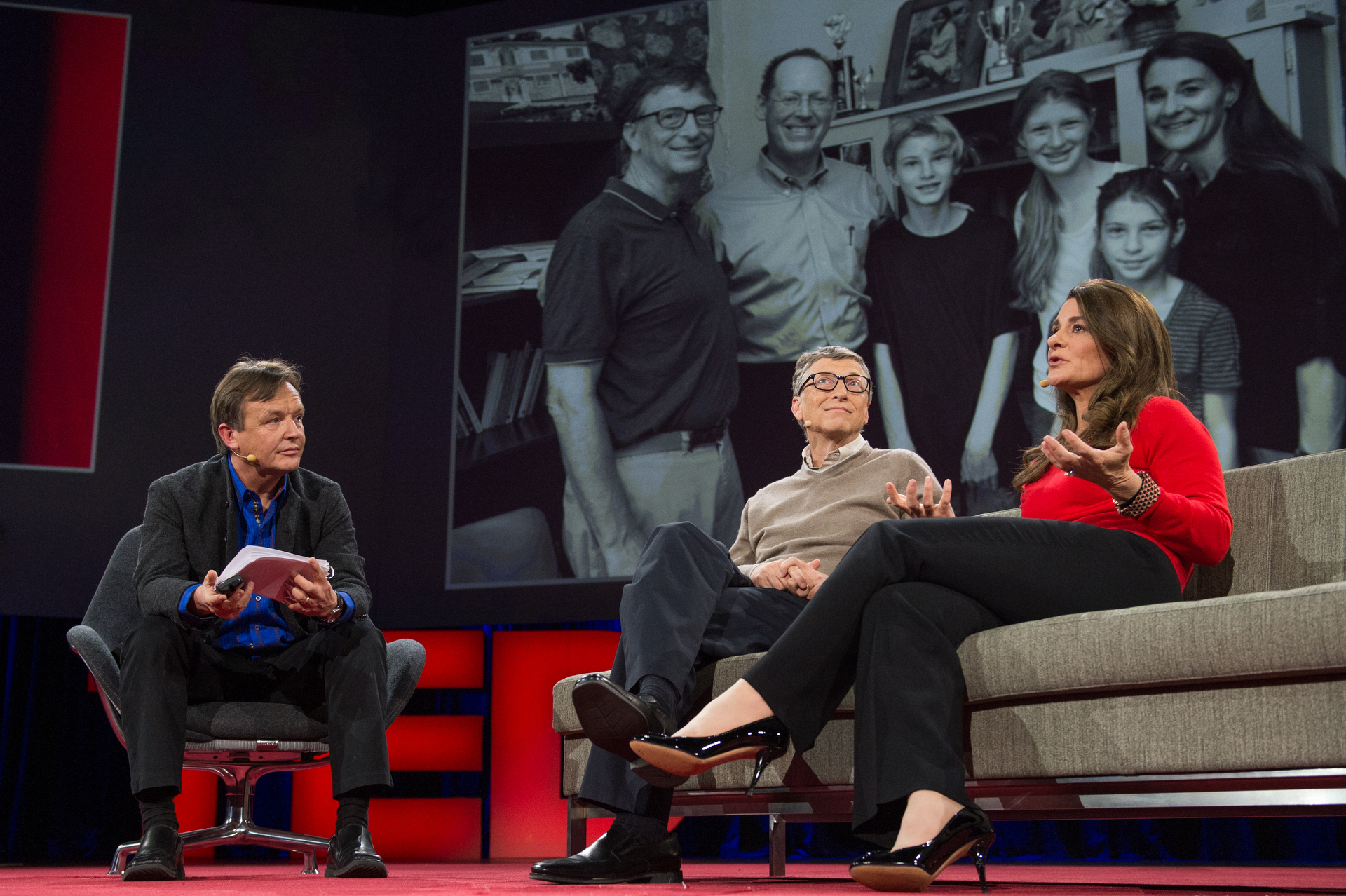 Bill Gates (middle) dedicated his career to building the world's largest PC software company. Together with his wife, Melinda Gates (right), they are now using their wealth to create a philanthropic impact in this world and have pledged to give at least 95% of their wealth away in their lifetime.   Image source:   Why giving away our wealth has been the most satisfying thing we've done  (  TED Blog    )