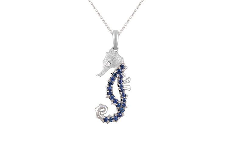 UCSH-18SAW   14KW SINGLE SEA HORSE PENDANT WITH DIAMOND .01ct, 22 BLUE SAPPHIRES.22ct