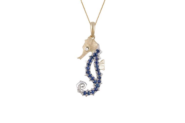 UCSH-18SAX   14K 2/TONE(Y/G & W/G) SINGLE SEA HORSE PENDANT WITH DIAMOND .01ct, 22 BLUE SAPPHIRES .21ct