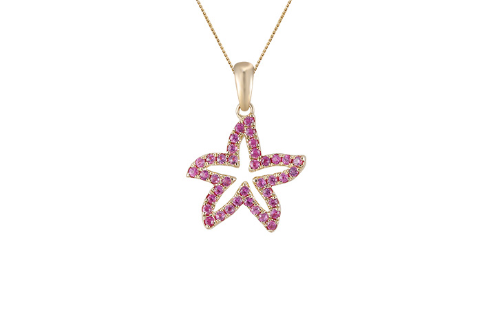 UCSS-15PSA   14K YELLOW GOLD 15MM SEA STAR PENDANT, W/39 PINK SAPPHIRES(DEEP COLOR) .37ct