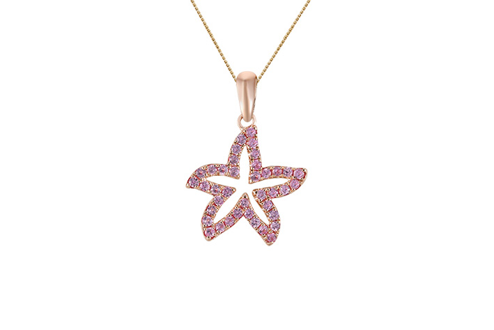 UCSS-15PSAP   14K ROSE GOLD 15MM SEA STAR PENDANT, W/39 PINK SAPPHIRES(LIGHT COLOR) .38ct