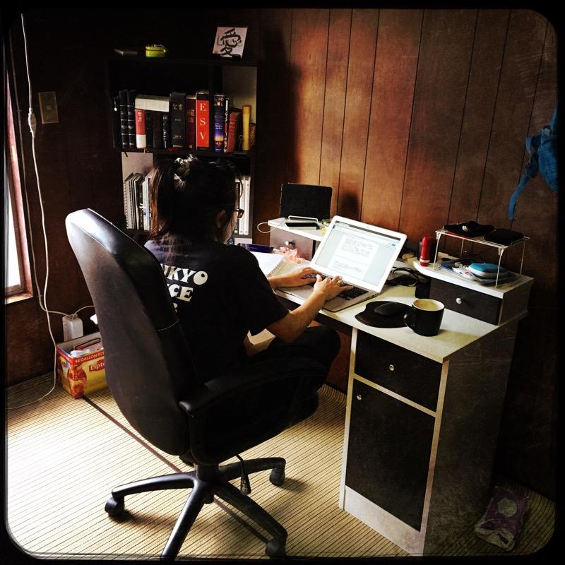 Megumi hard at work translating.