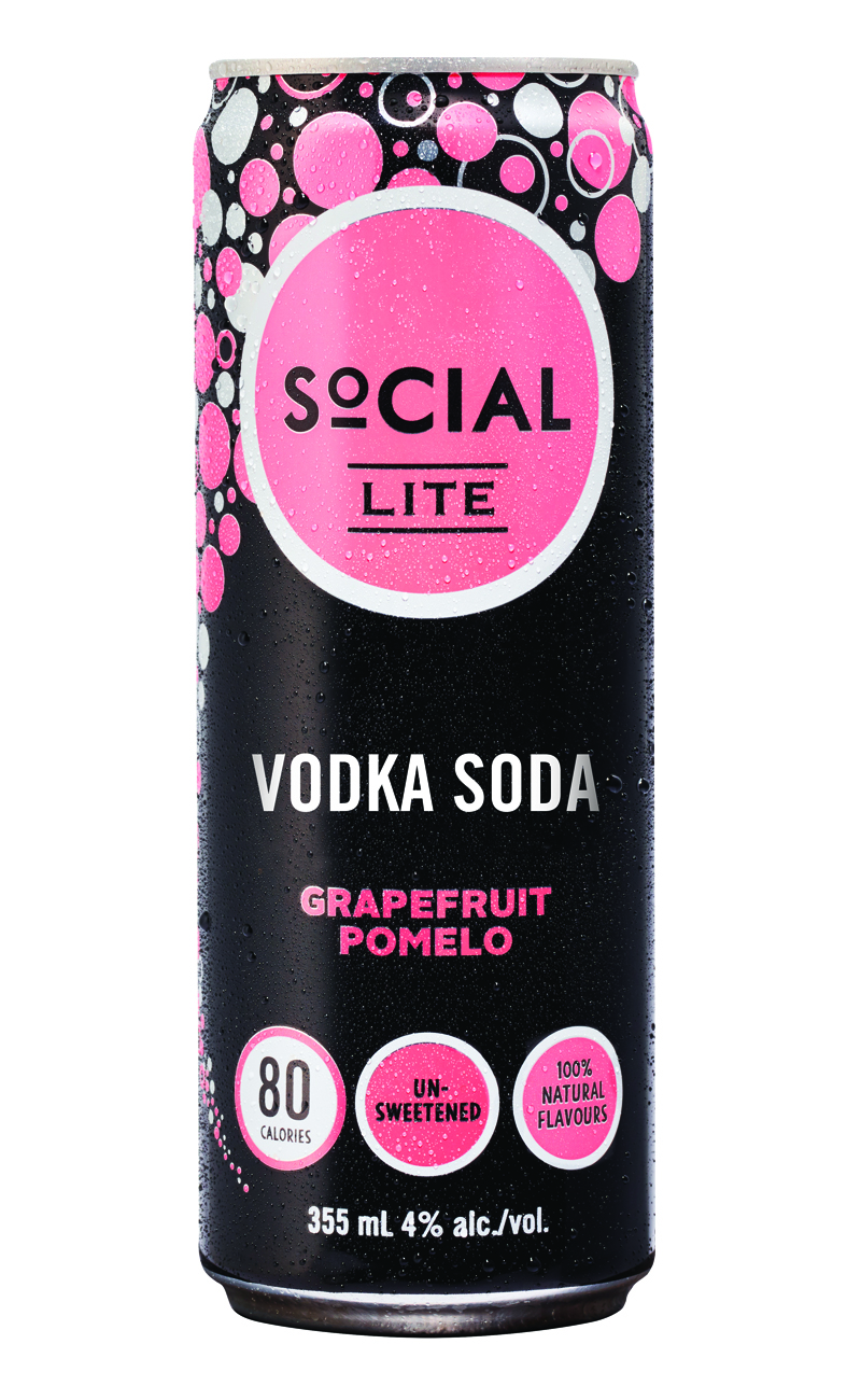 Grapefruit Pomelo - This naturally refreshing drink is a blend of pink grapefruit and pomelo flavours blended with smooth premium vodka and sparkling water. A sweet grapefruit aroma on the nose, with a light bubbly mouthfeel and smooth finish. SoCIAL LITE Vodka Grapefruit Pomelo has zero sugar or sweetener, no artificial ingredients and is only 80 calories per can.