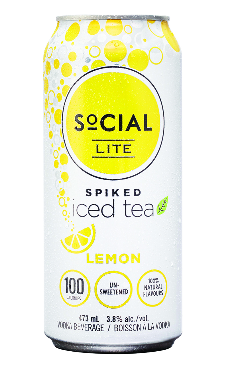 Spiked Lemon Iced Tea - The way iced tea is meant to taste, made from real brewed tea with no added sugar or colour. Zesty lemon adds the perfect kick of refreshment to this brewed black tea. SoCIAL LITE Vodka Spiked Lemon Iced Tea has zero sugar or sweetener, no artificial ingredients and is only 100 calories per can.