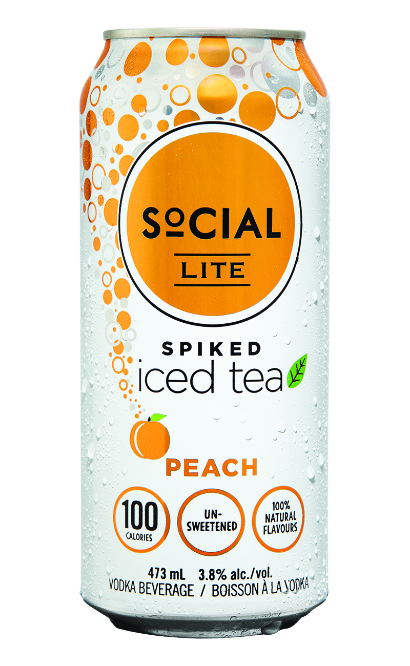 Spiked Peach Iced Tea - The way iced tea is meant to taste, made from real brewed tea with no added sugar or colour. Natural sweet peach flavour adds the perfect kick of refreshment to this brewed black tea. SoCIAL LITE Vodka Spiked Peach Iced Tea has zero sugar or sweetener, no artificial ingredients and is only 100 calories per can.
