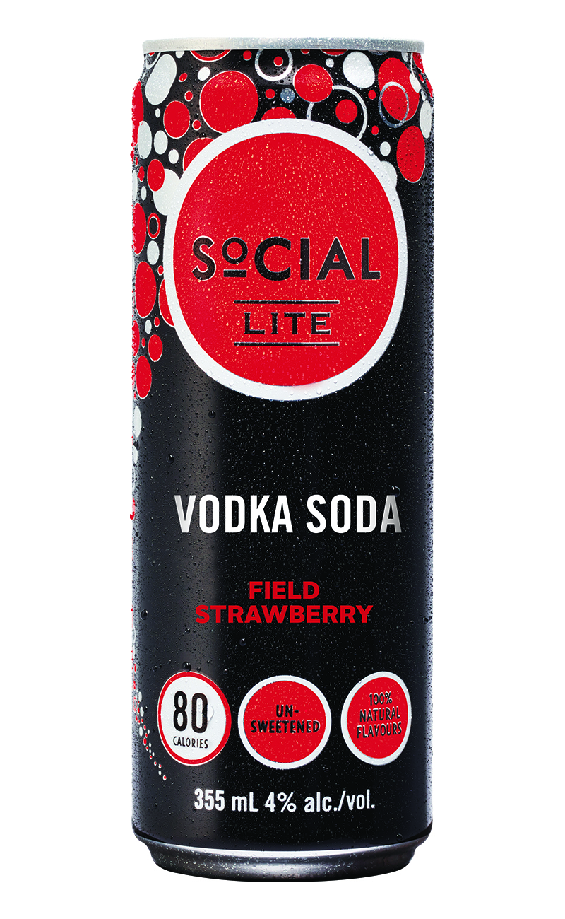 Field Strawberry - SoCIAL LITE Vodka Field Strawberry is a naturally refreshing vodka soda crafted with smooth premium vodka, sparkling water and 100% natural strawberry flavour. With a bright nose of fresh picked strawberry and a fresh berry taste that will take your senses straight to your local strawberry patch!
