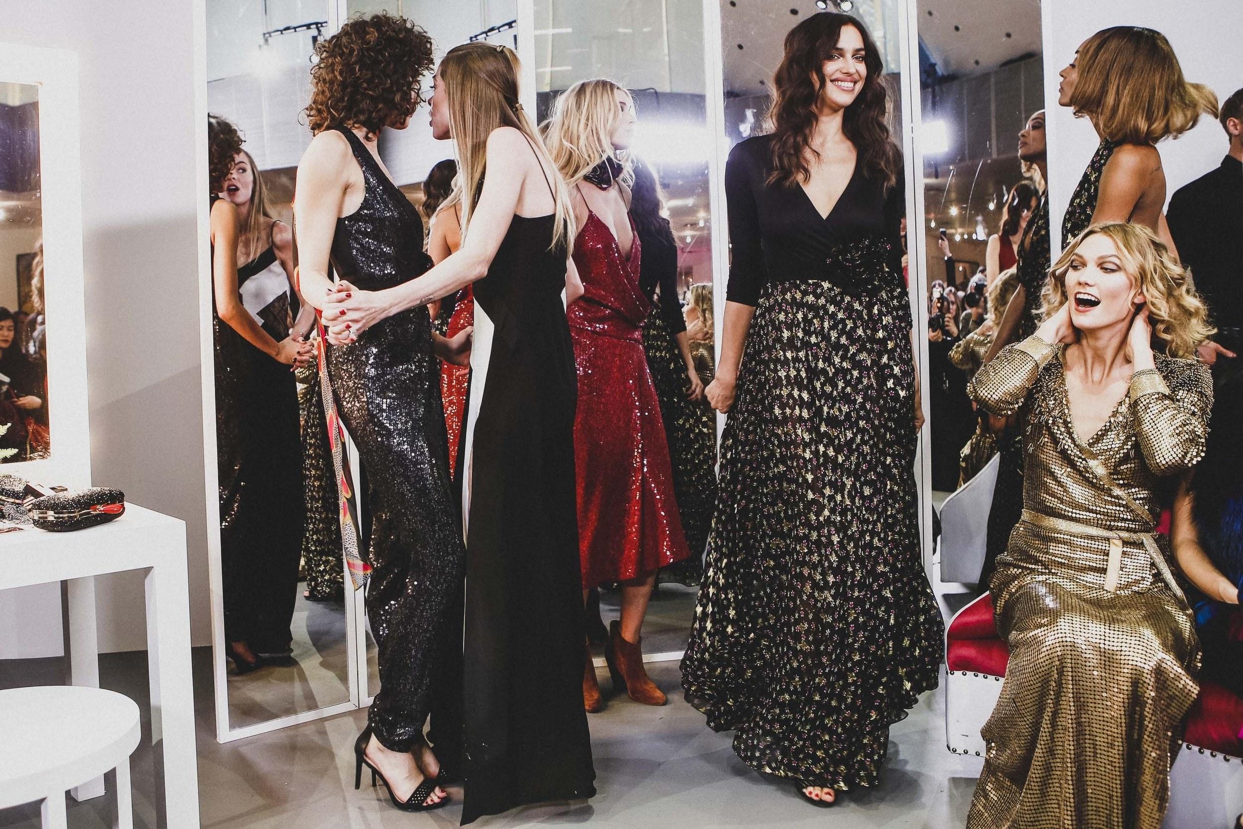 Supermodels Irina Shayk and Karlie Kloss flaunting their DVF frocks; image  via