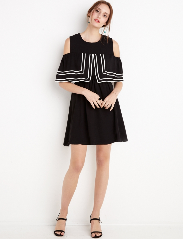 """PixieMarket's """"Black and White Layered Dress"""" for $69"""