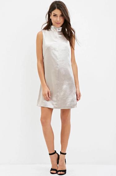 """Contemporary Mock Neck Metallic Dress,""$27.90; image  via"