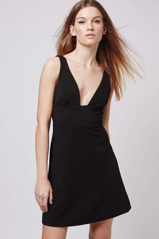 """Plunge Square Neck Skater Dress,""$68; image via  here"