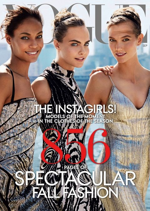 Karlie with Joan Smalls and Cara Delevingne for Vogue US