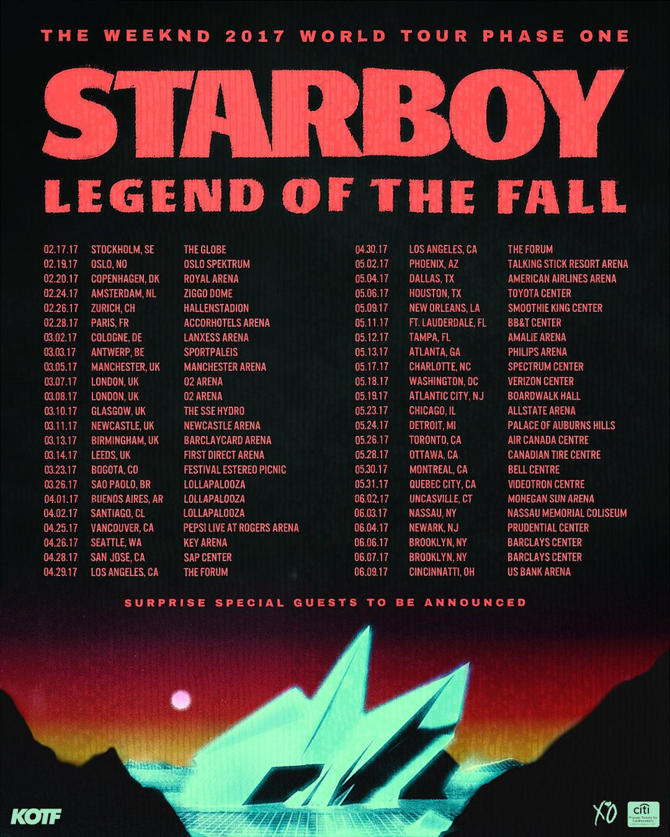Tickets to the Weeknd's Legend of the Fall tour