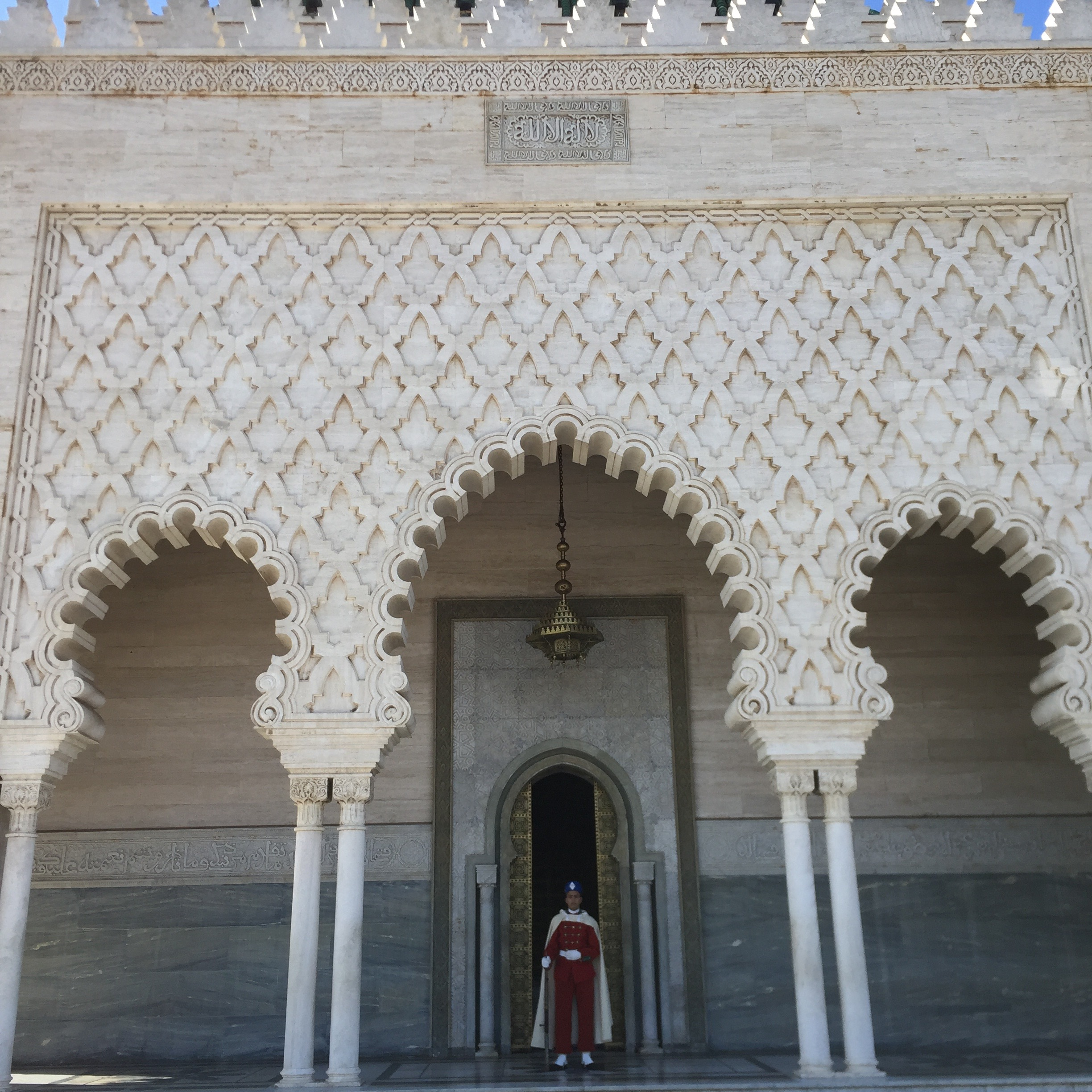 The mausoleum of King Mohammed V, who negotiated independence from France in 1956. Morocco was a French protectorate from 1912 to 1956.