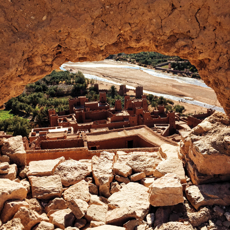 Views overlooking Ait Ben Haddou, a UNESCO village along the caravan routes between the Sahara and Marrakech.