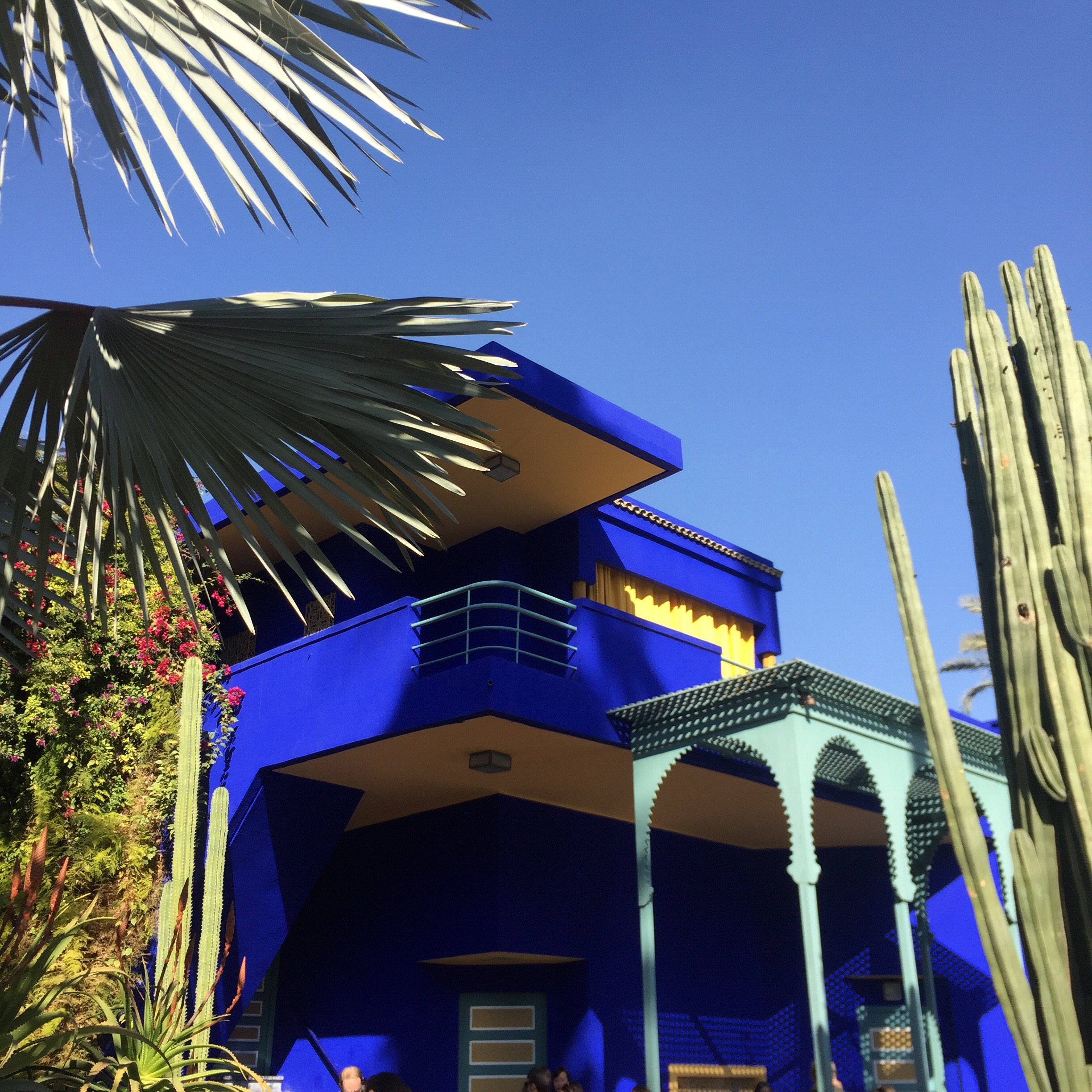 The Jardins Majorelle in Marrakech where designer Yves Saint Laurent's ashes are spread. This blue is called  bleu Majorelle .