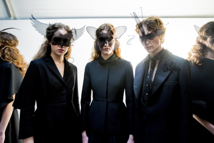 Dior models don semi-sheer insect masks; image  via