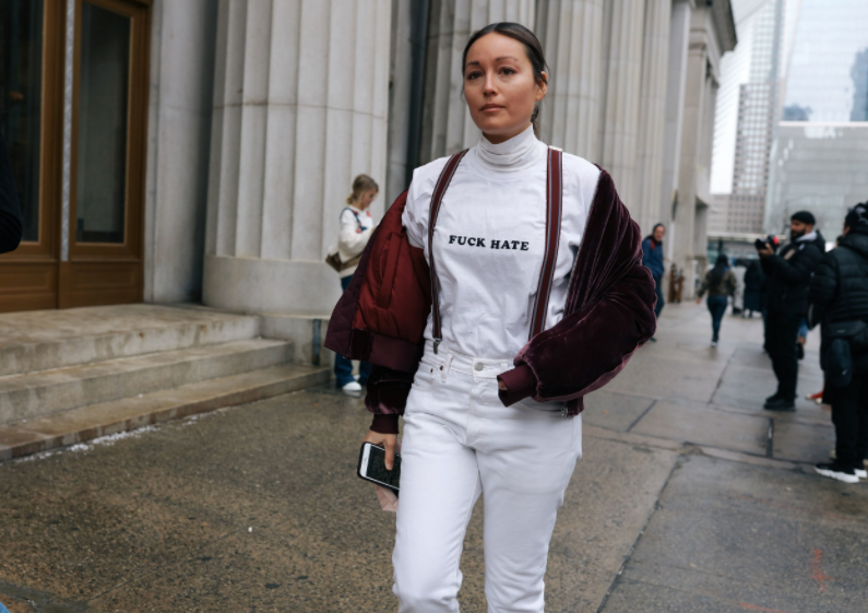A street style statement at NYFW earlier this month; image  via