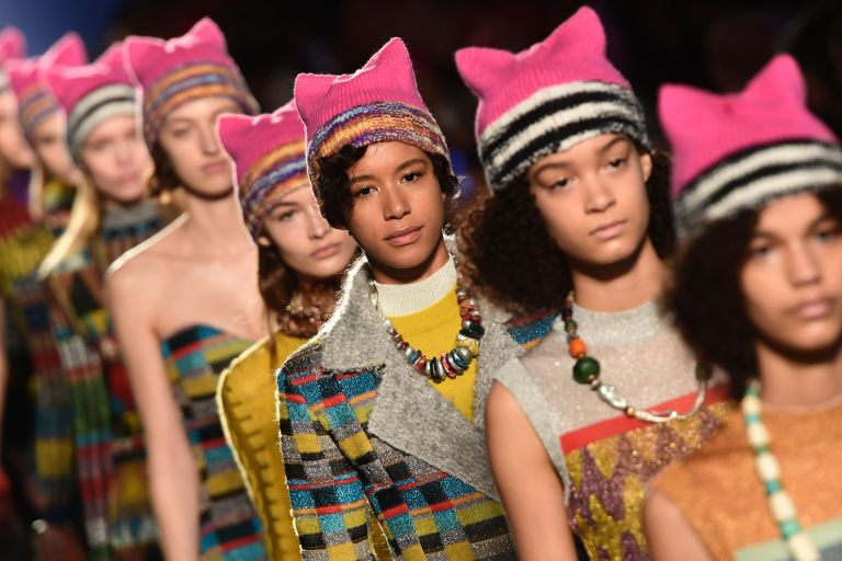 A mini pussy hat march closing the Missoni show; image via