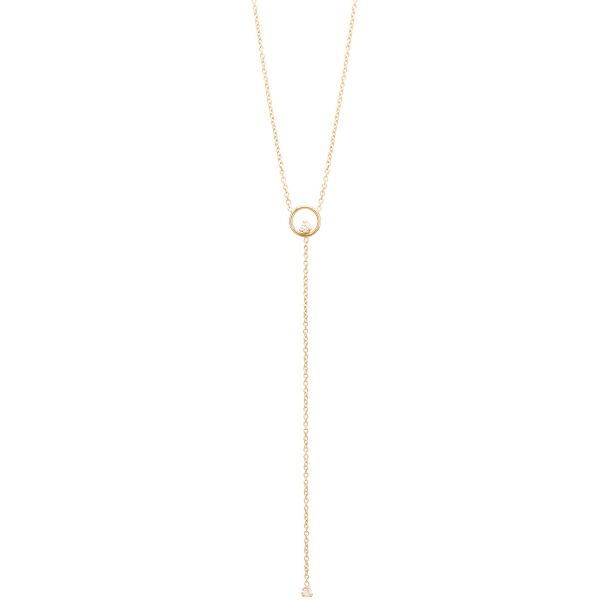 14K CIRCLE PRONG DIAMOND LARIAT NECKLACE