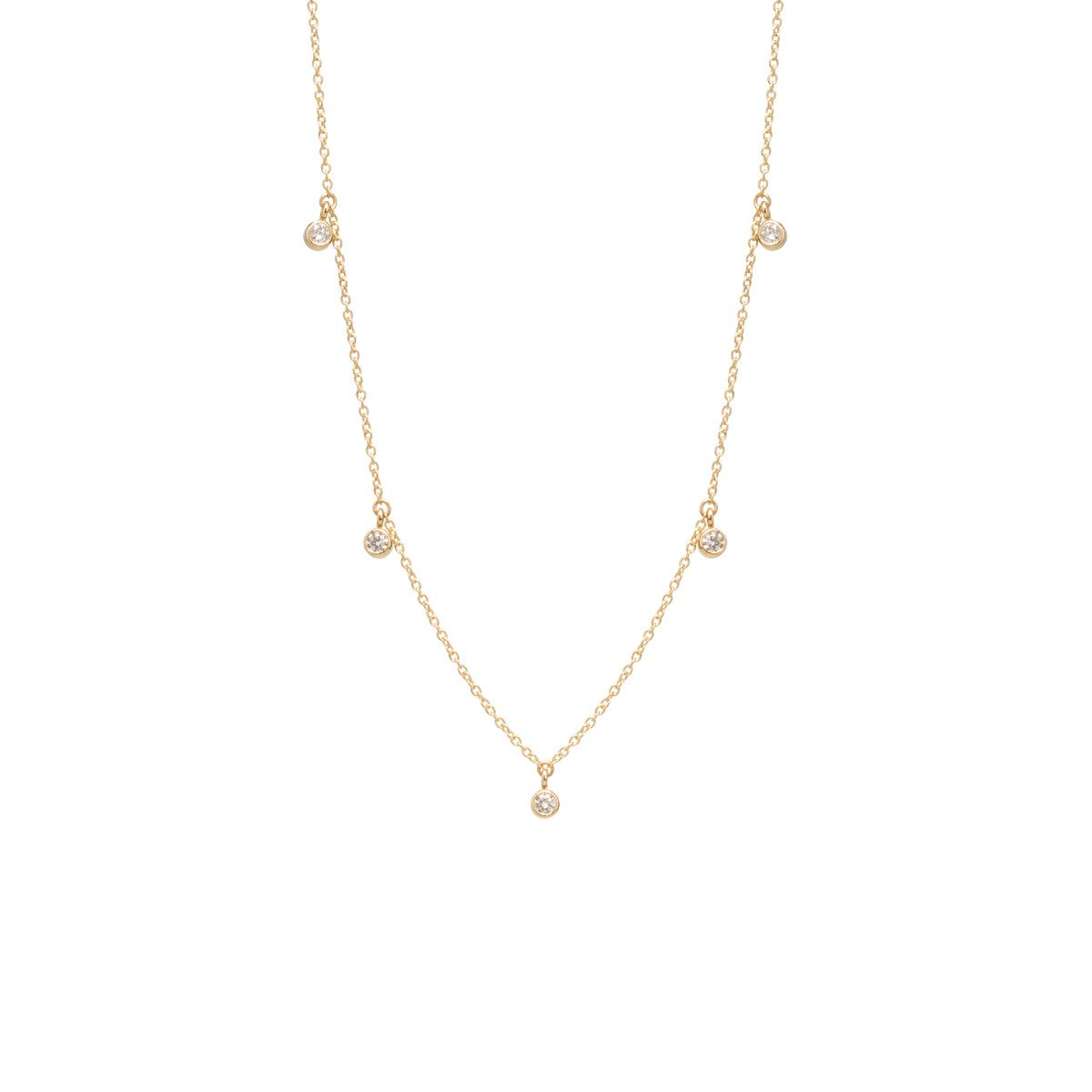 14K 5 DANGLING DIAMONDS CHOKER NECKLACE