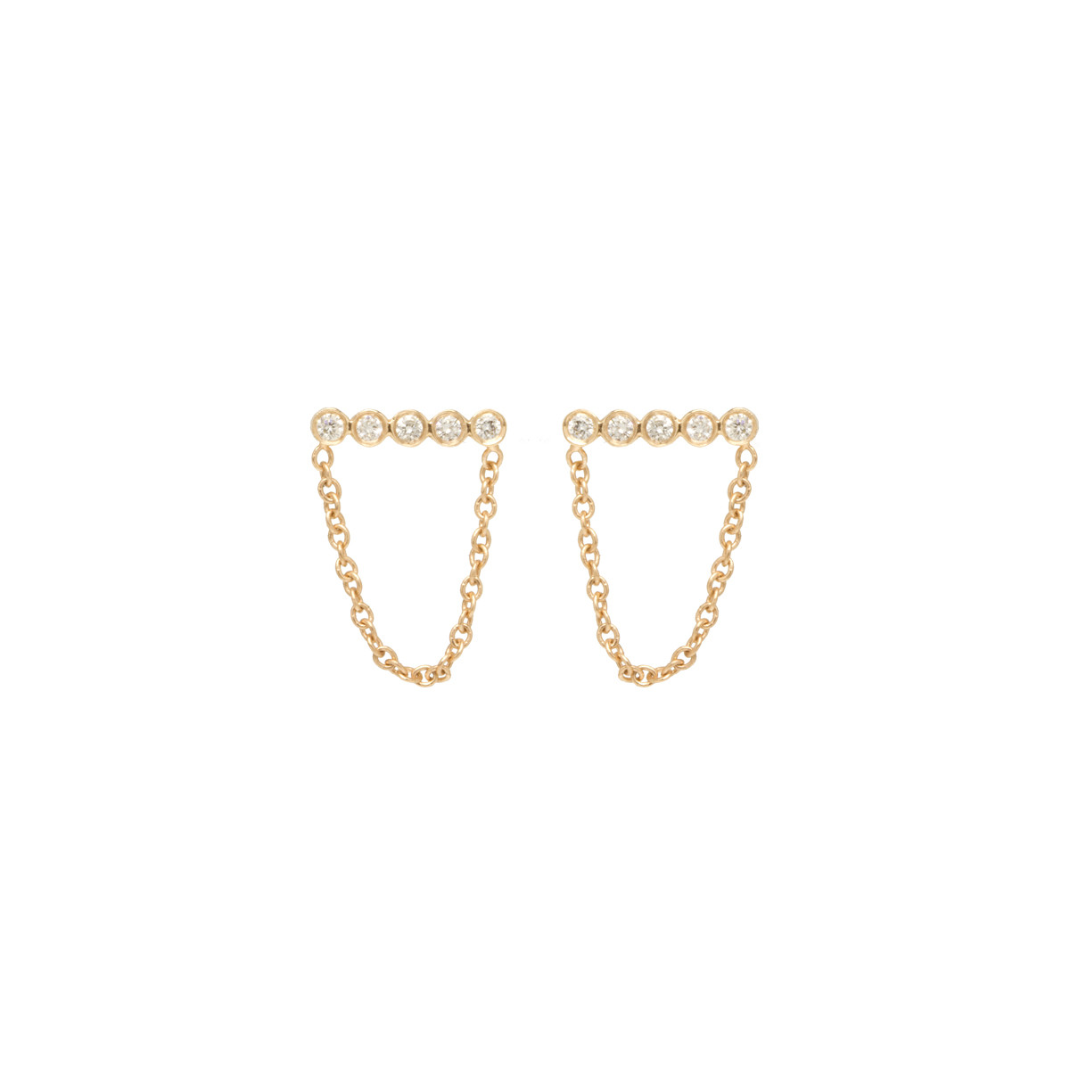 14K TINY DIAMOND BEZEL CHAIN BAR STUDS