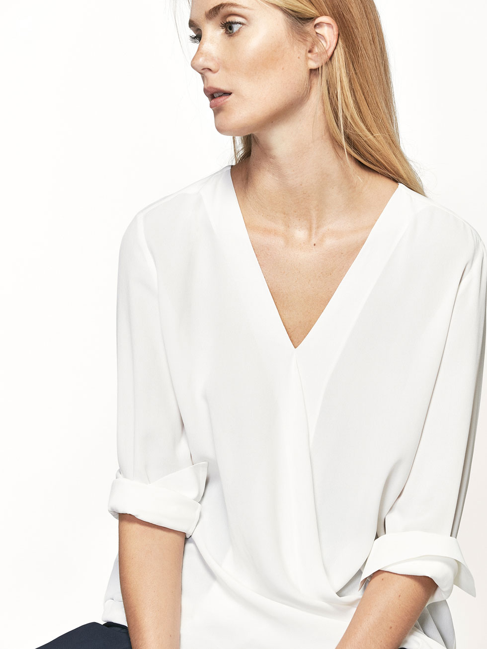 CROSSED V NECK SHIRT WITH TIE DETAIL