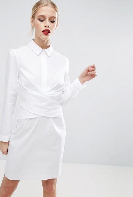 COTTON WRAP FRONT SHIRT DRESS