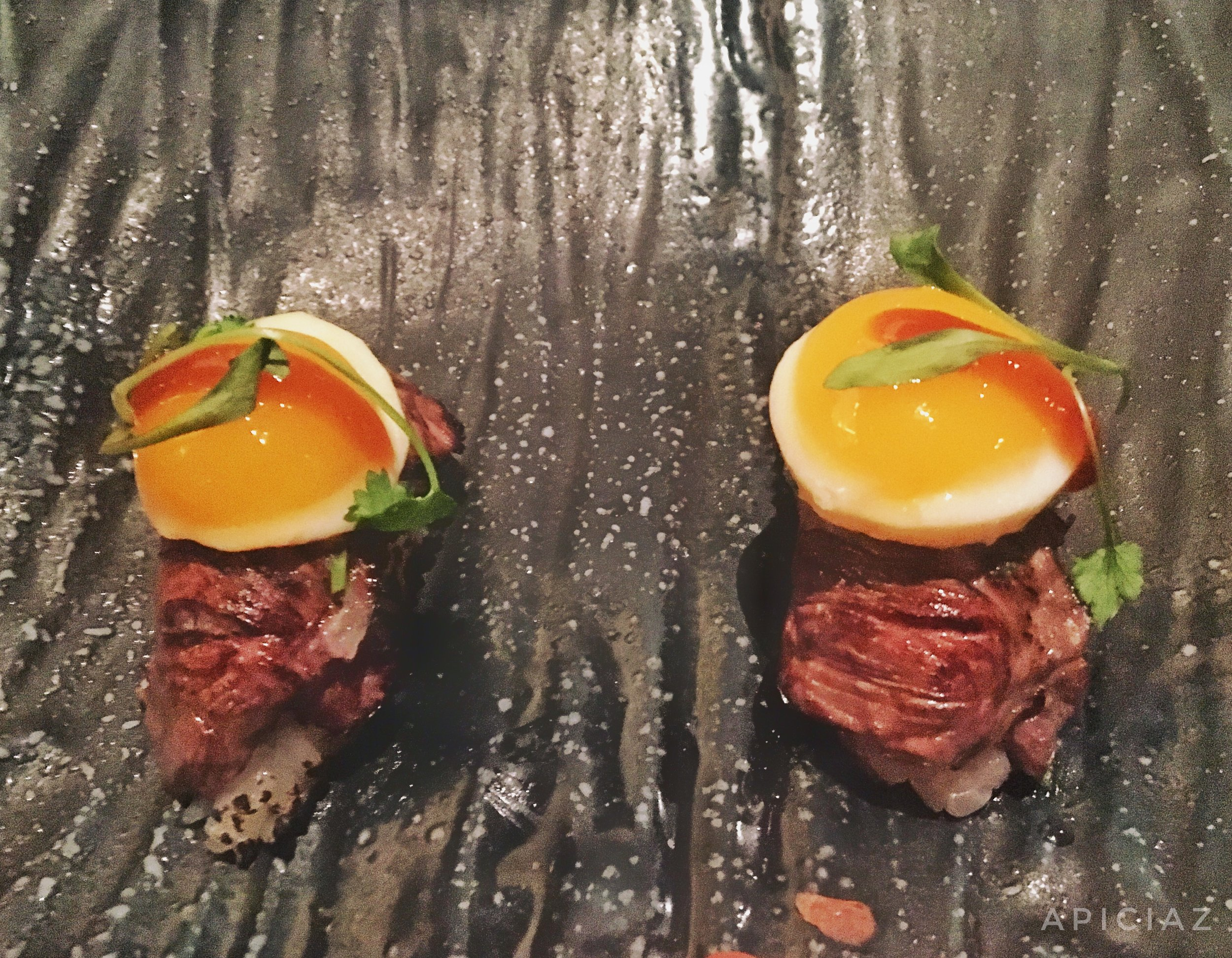 pobre skirt steak, quail egg, chalaca, ponzu gel