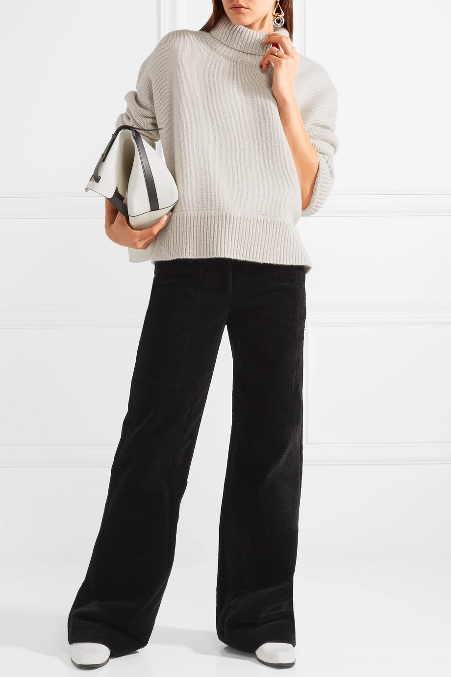 turtleneck sweater + wide-leg pants  Image  via