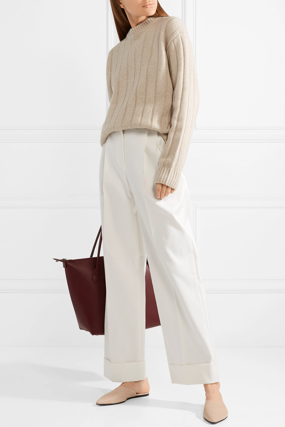 ribbed sweater + wide-leg pants  Image  via