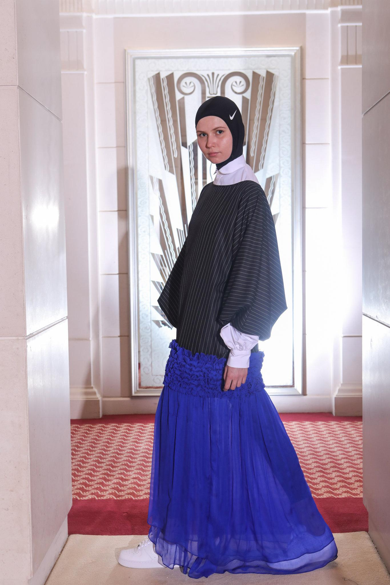 A piece by Mashael AlRajhi, who collaborated with Nike on its first runway hijab | Image  Via