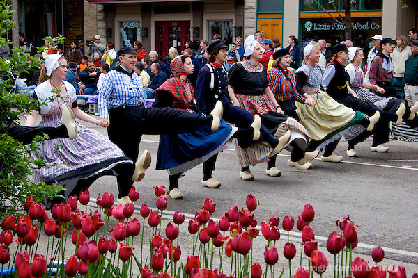 Community members dancing the Klompen in the city center   via .