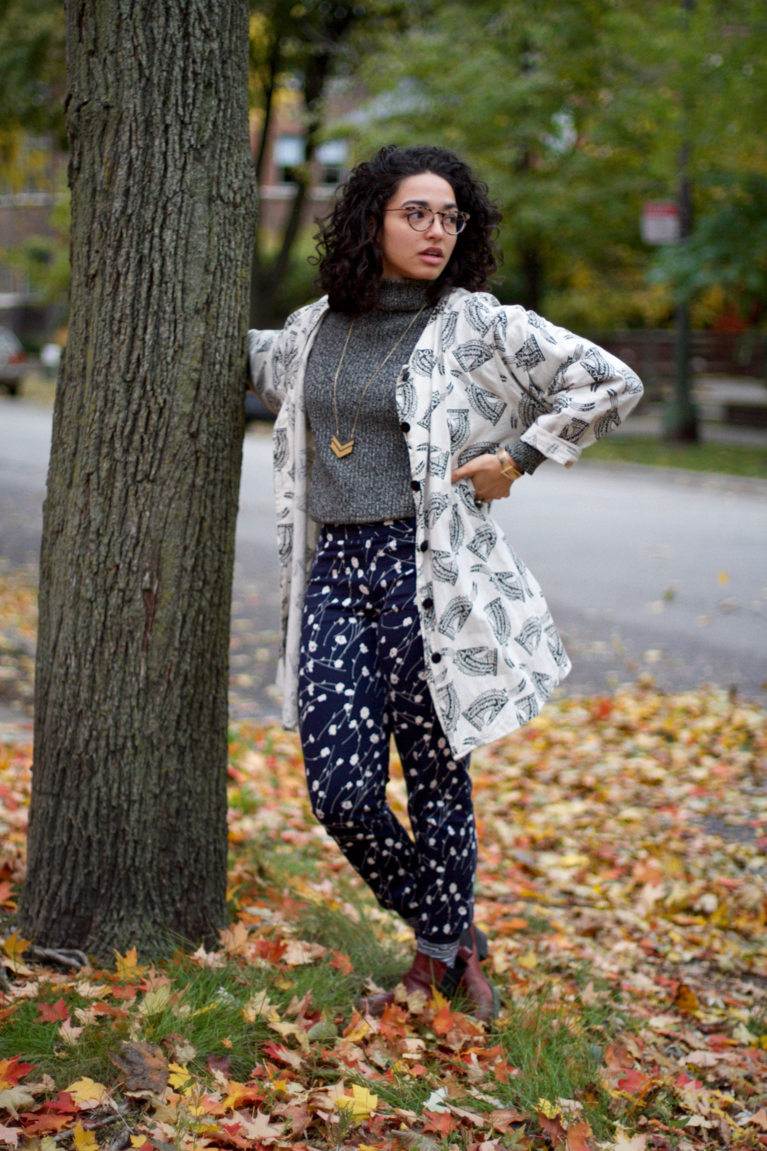 This outfit is textbook power clash – I thrifted the pants from Goodwill, both the sweater and linen jacket are from Beacon's Closet, my glasses are Warby Parker, and I got the neck scarf from Madewell!