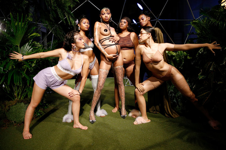 A photograph from Rihanna's Fenty x Savage show depicts a wider range of body diversity. image  via .
