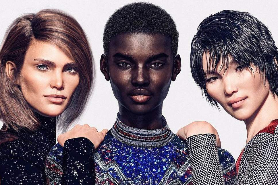 CGI Models in the Balmain Pre-Fall 2018 lookbook from left to right: Margot, Shudu and Zhi. Programmed by  Cameron James Wilson.  Photo via   the Independent