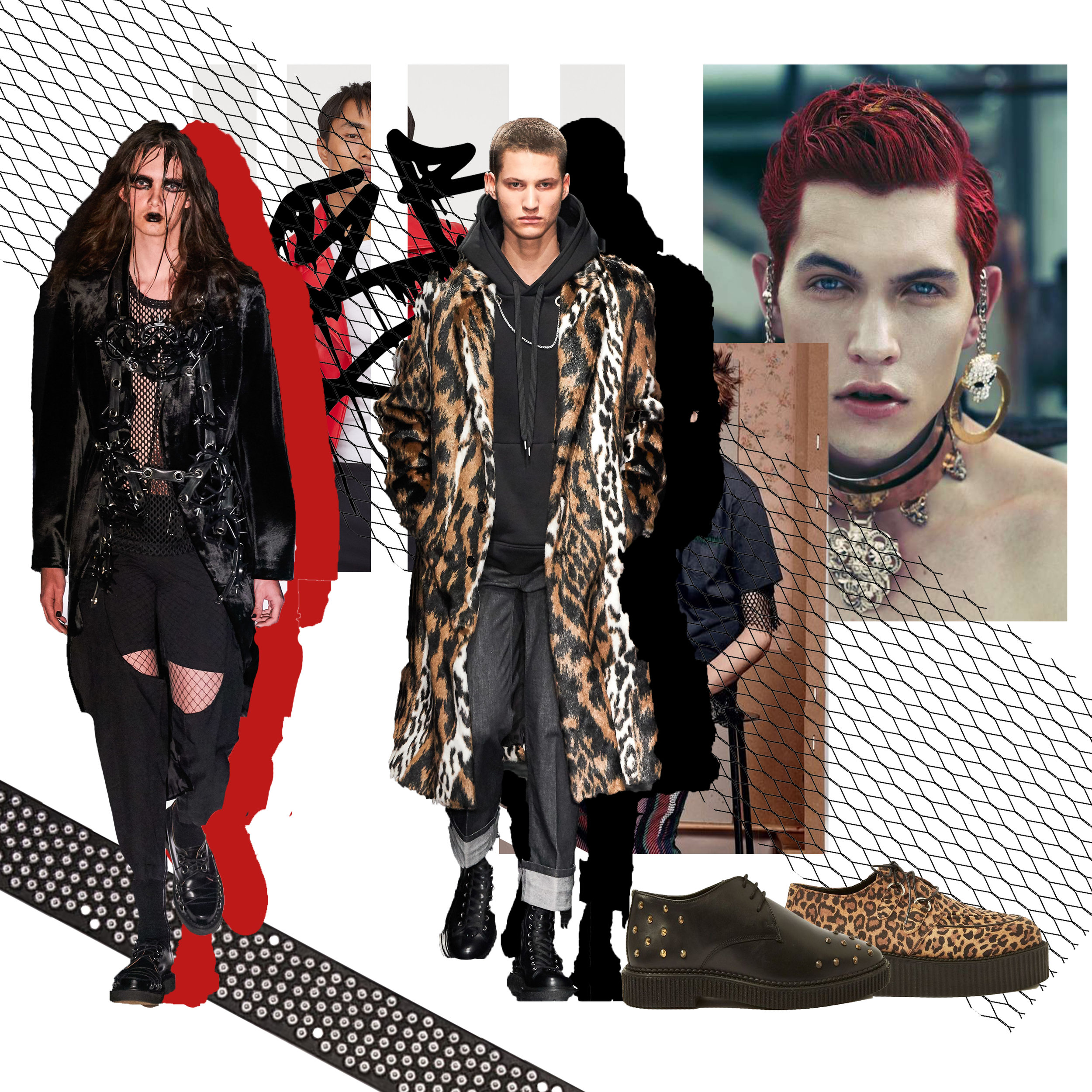 The Punk Prince - For a bold and intense look, focus your fashion around the revival of Punk. From Celine to Comme des Garçons, punk-inspired looks have taken over men's fashion this season. It's all about balancing leather with bold animal prints and hardware. When it comes to accessories, more is more! Silver chain accessories and artisanal rings soften a more dramatic persona, and studded boots with fetish-inspired detailing updates any look. If you're feeling adventurous, throw in some DIY touches for some added flair and individuality; you might be there to watch, but that doesn't mean you can't rock your own custom couture.