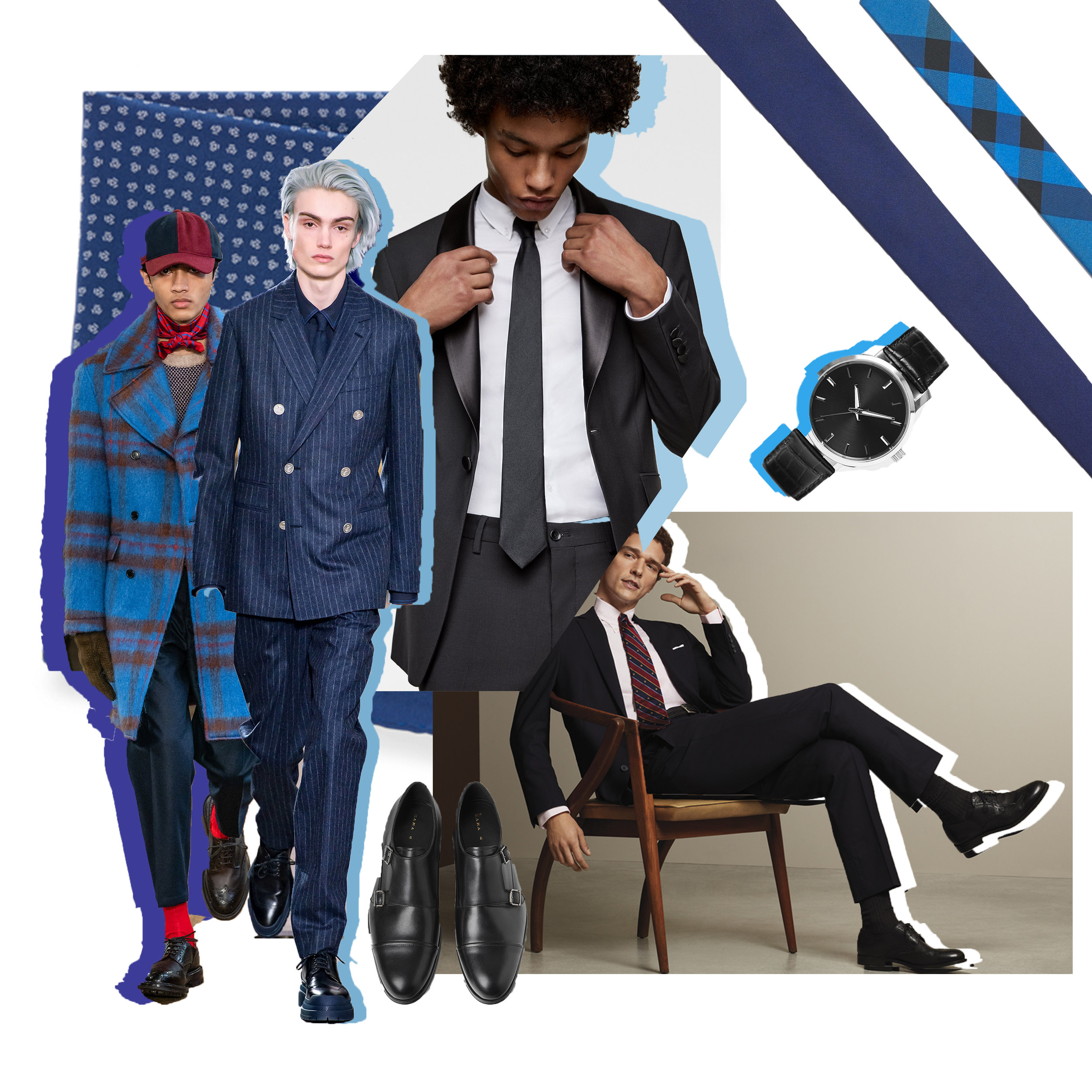 The Gentleman - For a clean, classic look, focus on more sophisticated cuts and tailoring. You really can't go wrong with a good suit and tie, throw on a pair of dress shoes, a watch and a great long coat to complete your flawless fit for your fabulous night. Shades of black, grey, white and navy suggest a more classic vibe, while bright or pastel monochrome suits add a dash of playfulness for a more contemporary look. The look is all about taking something super traditional and adding a dash of your own personality. A suit doesn't mean you can skimp on accessories!