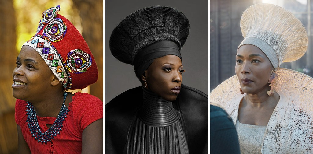 Left, a Zulu woman in the traditional headdress of a married woman; center, a conceptual costume sketch by Ms. Carter (design) and Ryan Meinerding and his team (concept artists); and right, the headdress as worn by Angela Bassett in  Black Panther . Photos and quote  via .