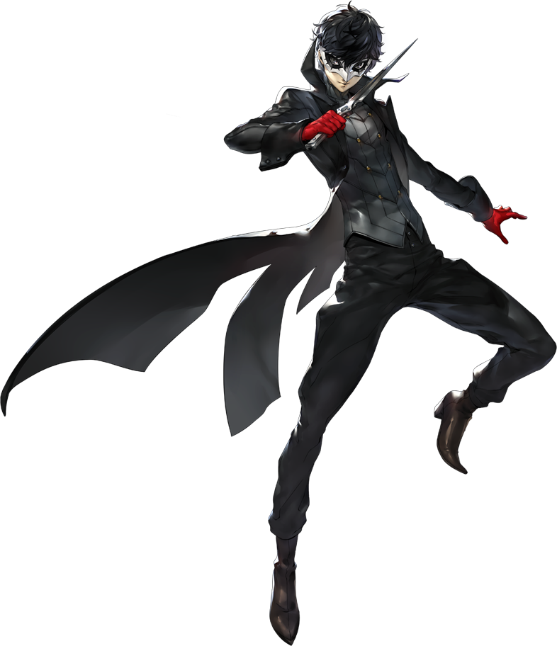 Joker (Persona) is serving an all-black assassin fantasy with the leather pants tucked-into leather boots and shiny torso-plate -