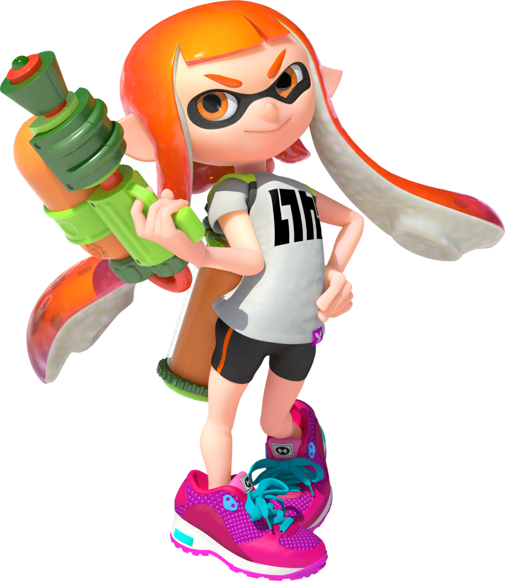 Inkling (Splatoon) is Incredibly on-trend with the stripped biker shorts and chunky 90s sneakers -