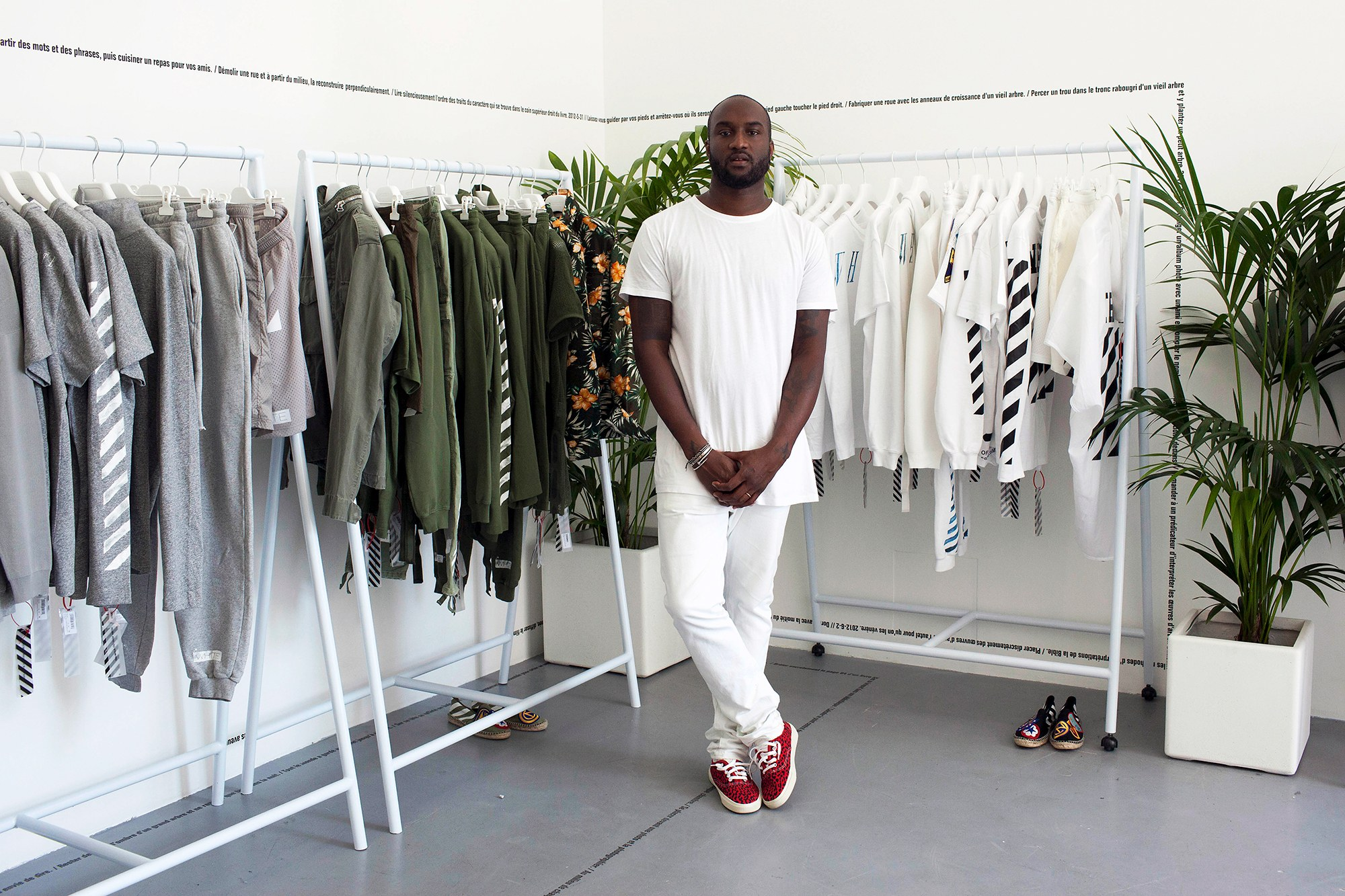 Abloh in his Off-white store. Image  via
