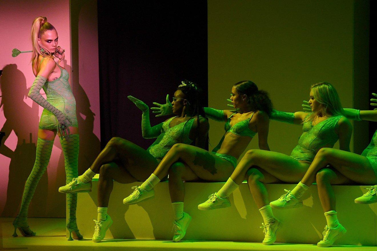 Cara Delevigne slays in Savage x Fenty Lingerie for Rihanna's 'Fashion Musical' presentation of her line. Image  via