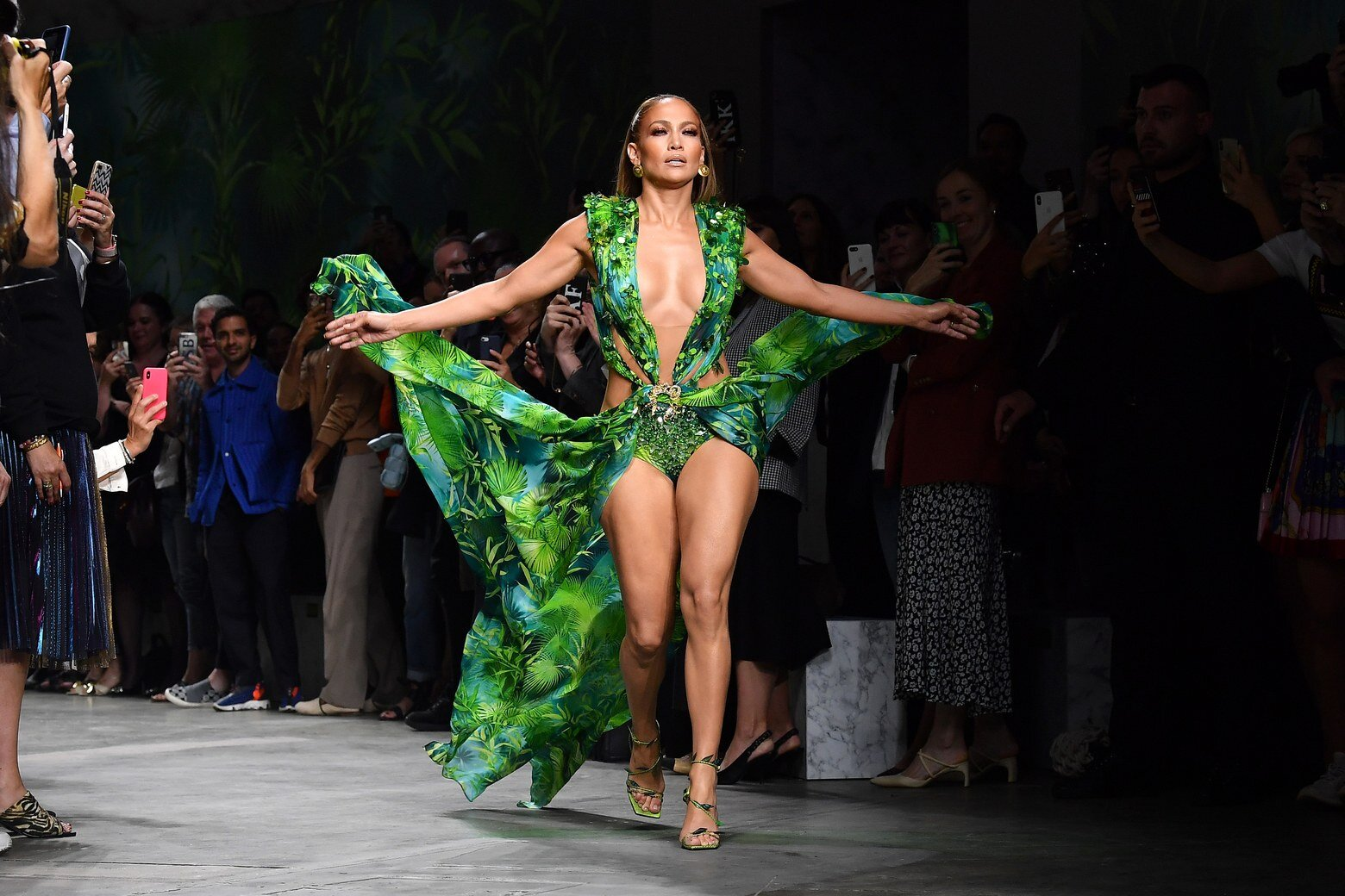 JLo celebrates the 20th anniversary of the gown that allegedly launched Google Images at the Versace Runway. Image  via