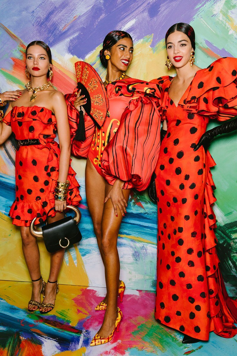 Jeremy Scott channeled Picasso at his spring 2020 show; models walked in Spanish inspired gowns with painterly Matador-esque accessories like fans and bags shaped like bulls. Image  via