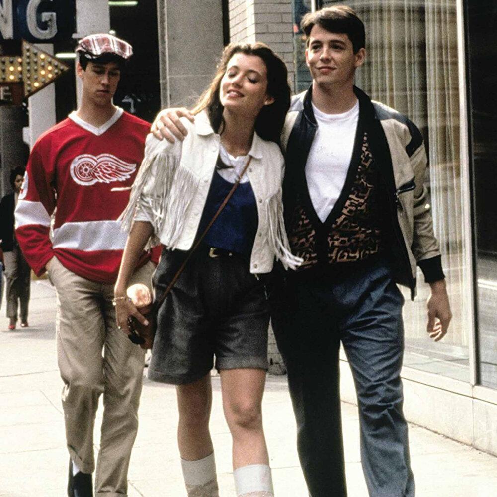 Sloane (Mia Sara) pictured with Ferris (Matthew Broderick) and Cameron (Alan Ruck). Image  Via