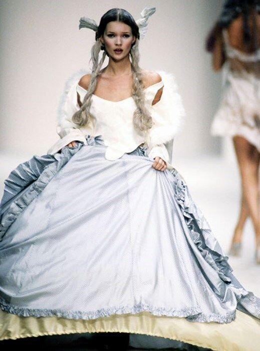 Kate Moss walking the runway for John Galliano's Spring/Summer 1994 show. Image  via
