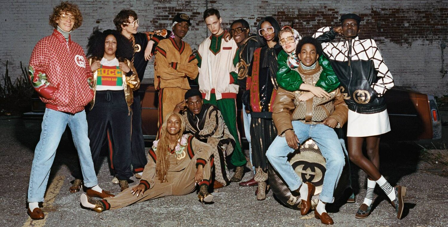 A campaign photo from Gucci's collaboration with Dapper Dan, the man who is arguably responsible for setting Michele on the path toward Fake/Not. Image  Via