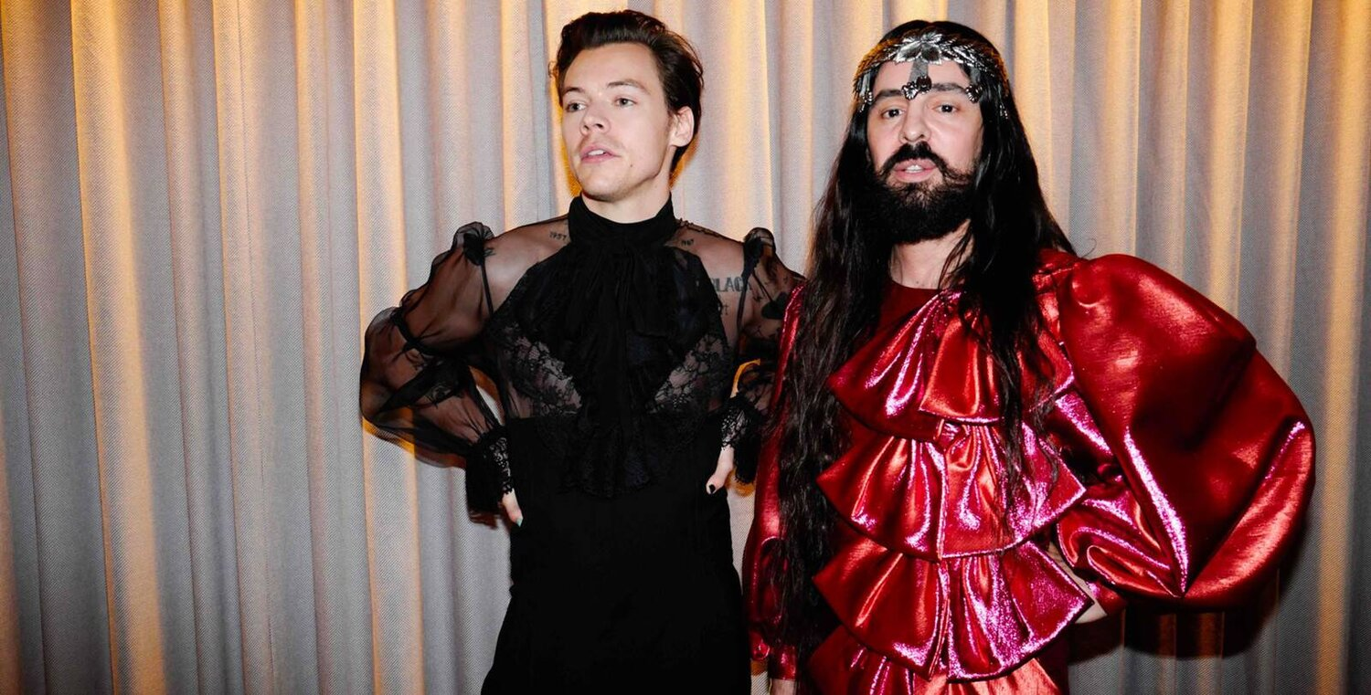 Alessandro Michele, creative director of Gucci since 2015, and Harry Styles at the Met Gala in 2019. Image  Via